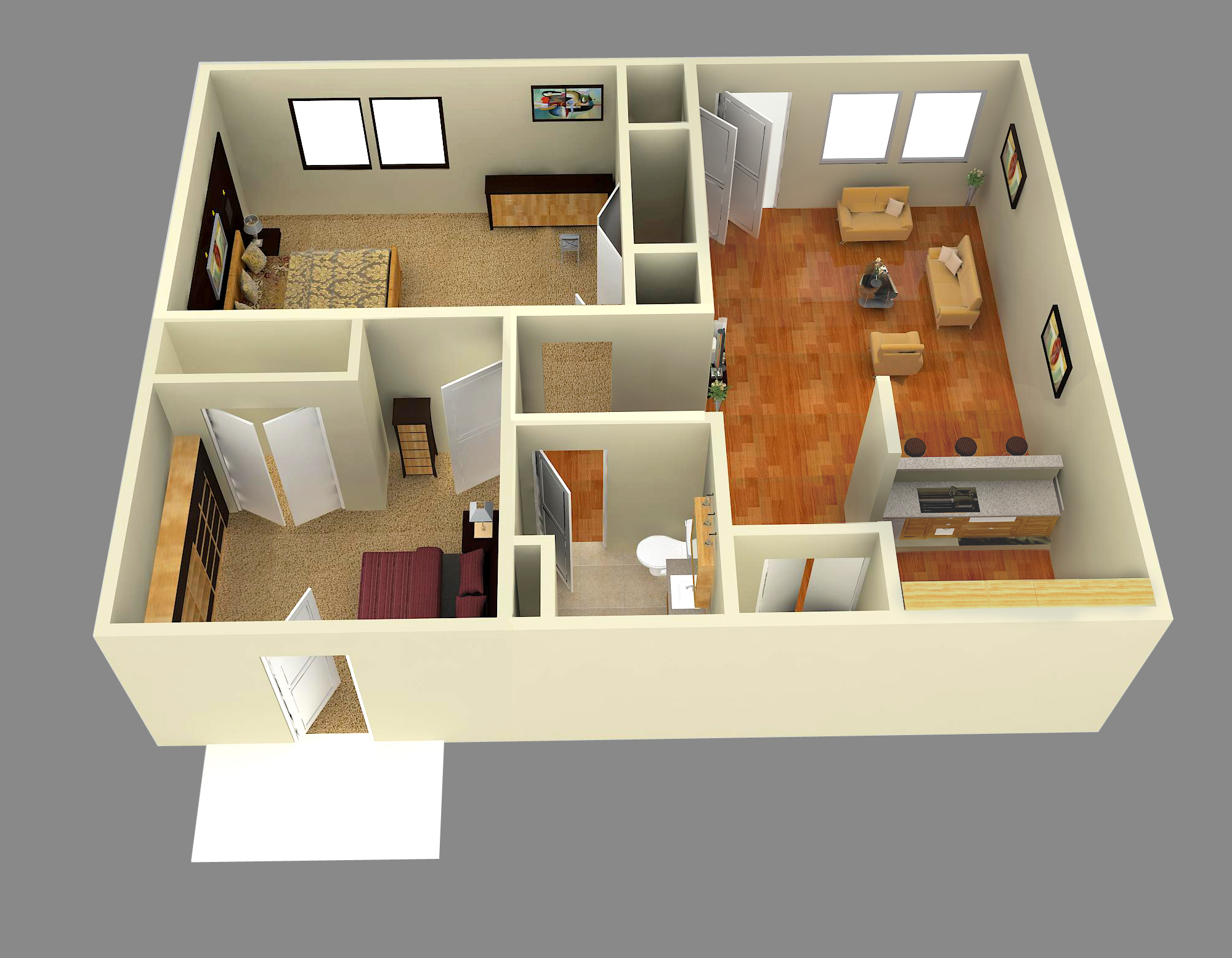 3d two bedroom house plan joy studio design gallery for 3d bedroom drawing