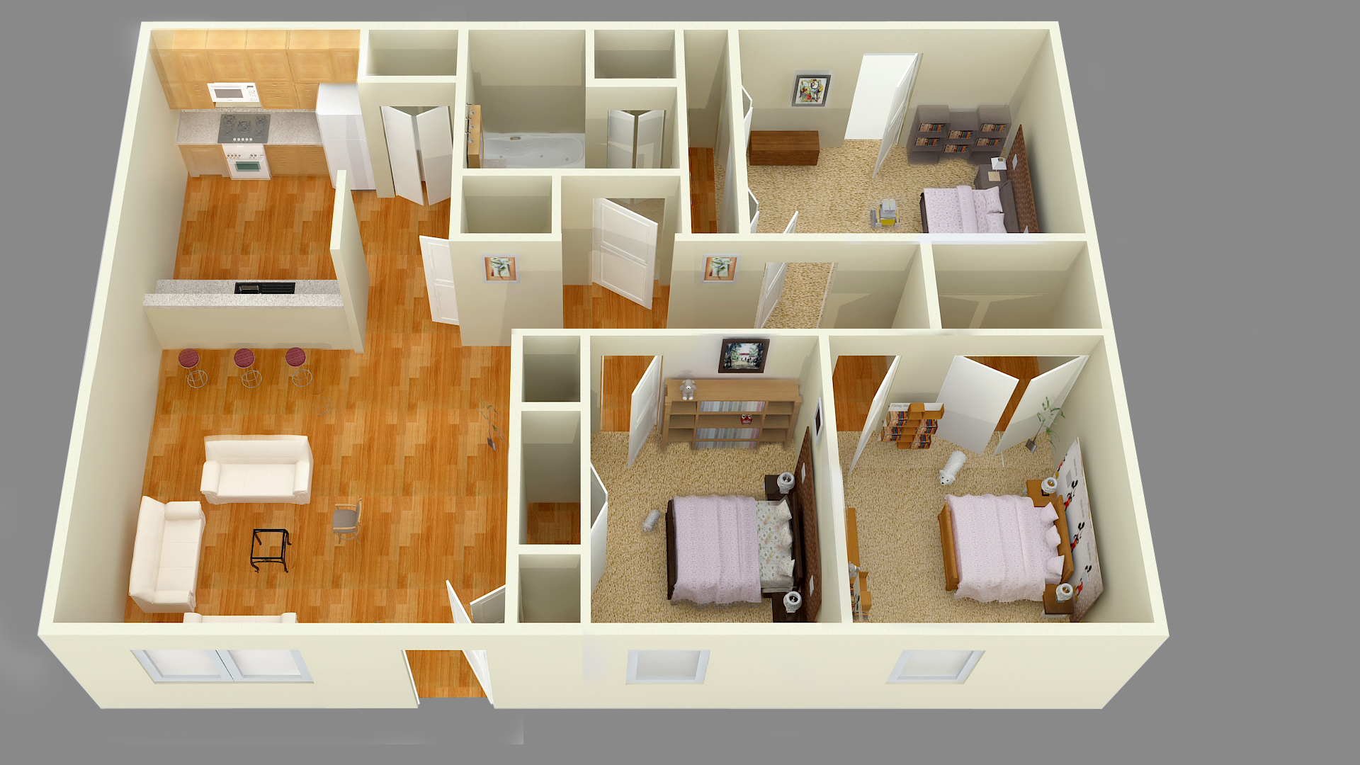 3 bedroom for 3d bedroom drawing